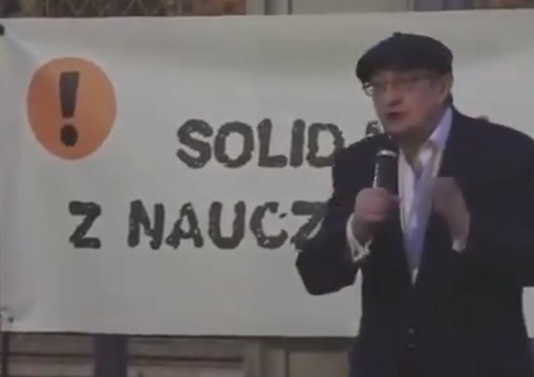 """[video] Pinior do strajkujących nauczycieli ZNP: """"Wasz protest wywołał empatię, serdeczność..."""" Naprawdę?"""