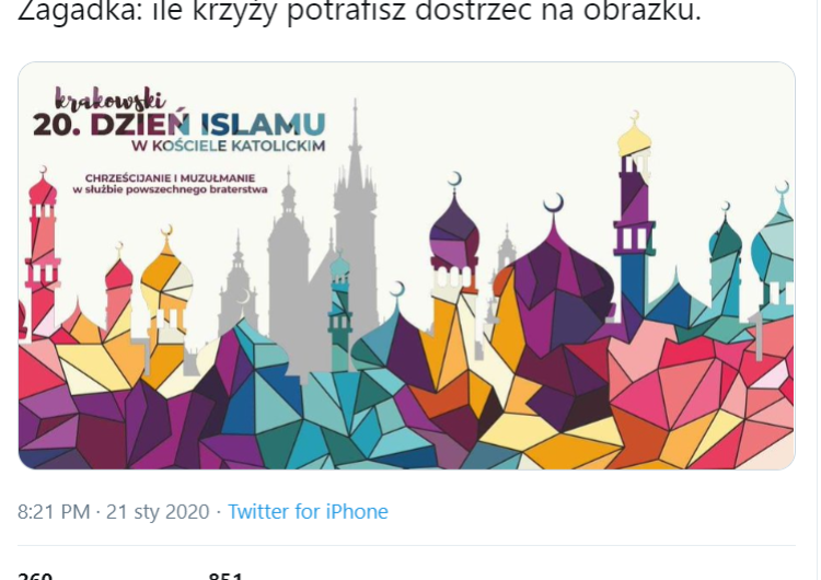 Kontrowersyjna grafika Krakowskiego Dnia Islamu w Kościele Katolickim. Jest oświadczenie Archidiecezji